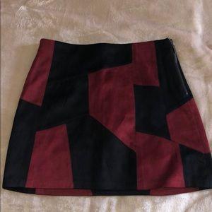 Zara Geometric Suede Skirt